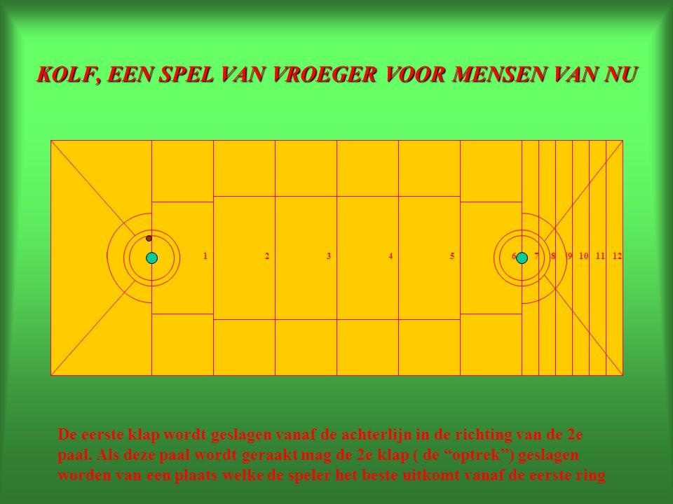 KOLF, EEN SPEL VAN VROEGER VOOR MENSEN VAN NU 234165789101112 De baan met opstaande randen of verdiept in de vloer is ca 17 meter lang en 5 meter breed en verdeeld in velden en voorzien van twee palen welke ietwat schuin zijn geplaatst.