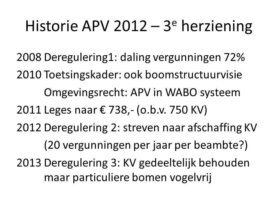Historie APV 2012 – 3 e herziening 2008 Deregulering1: daling vergunningen 72% 2010 Toetsingskader: ook boomstructuurvisie Omgevingsrecht: APV in WABO systeem 2011 Leges naar € 738,- (o.b.v.