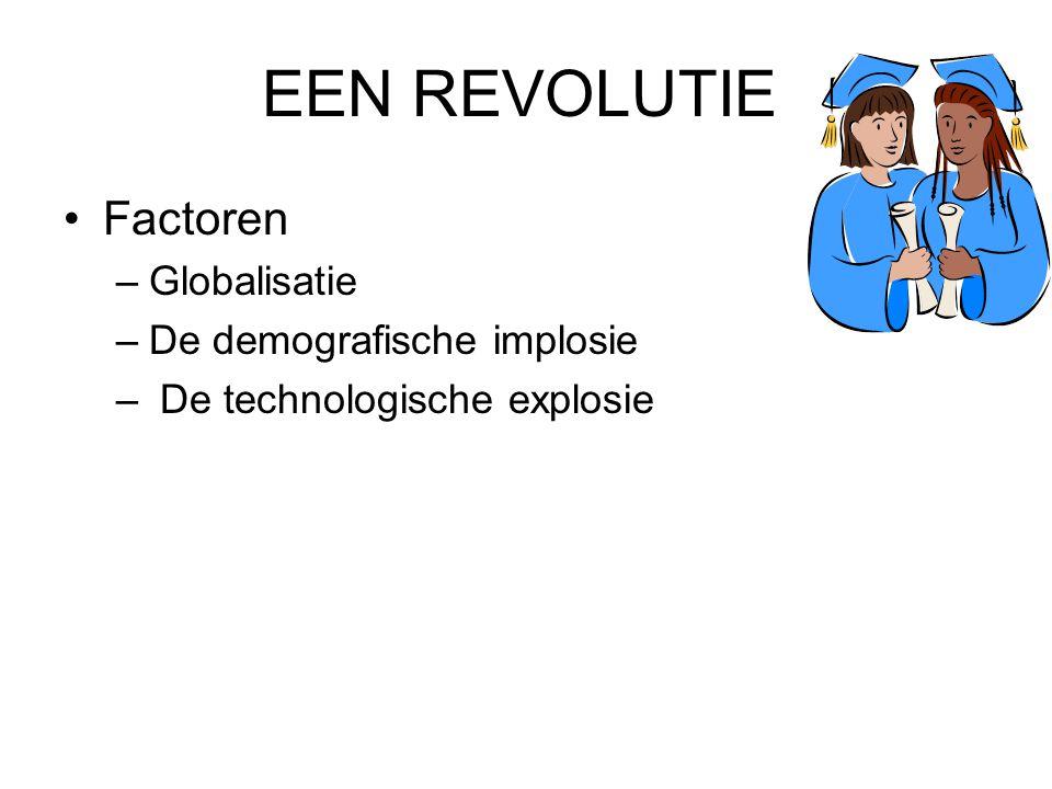 EEN REVOLUTIE •Factoren –Globalisatie –De demografische implosie – De technologische explosie