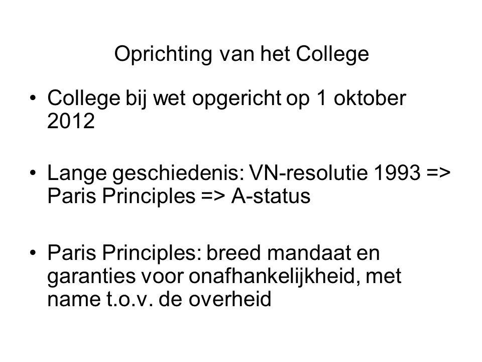 Oprichting van het College •College bij wet opgericht op 1 oktober 2012 •Lange geschiedenis: VN-resolutie 1993 => Paris Principles => A-status •Paris