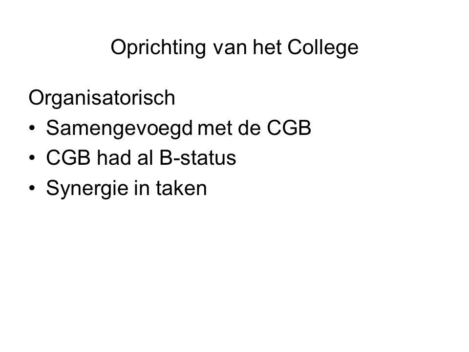 Oprichting van het College Organisatorisch •Samengevoegd met de CGB •CGB had al B-status •Synergie in taken