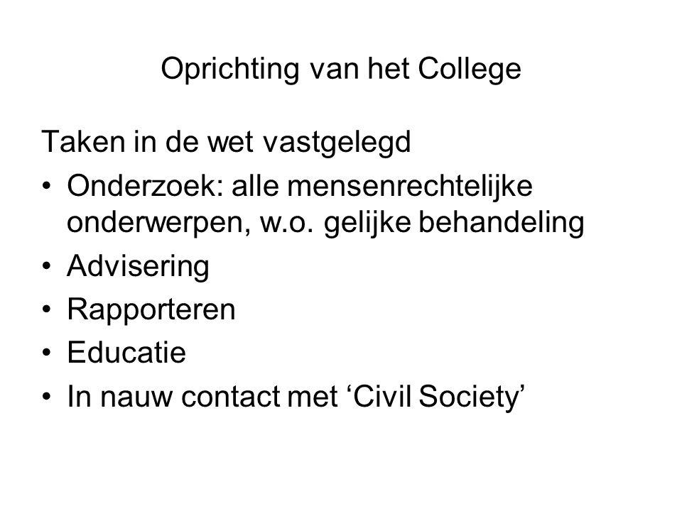 Oprichting van het College Taken in de wet vastgelegd •Onderzoek: alle mensenrechtelijke onderwerpen, w.o. gelijke behandeling •Advisering •Rapportere