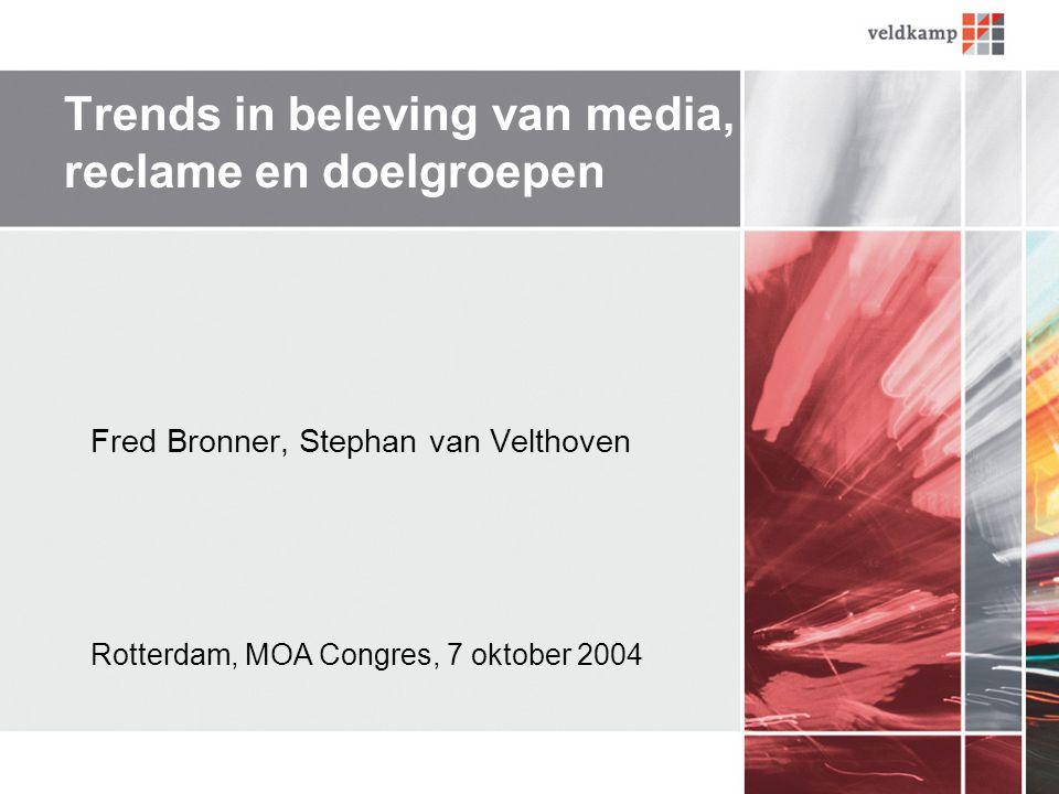 Trends in beleving van media, reclame en doelgroepen Fred Bronner, Stephan van Velthoven Rotterdam, MOA Congres, 7 oktober 2004