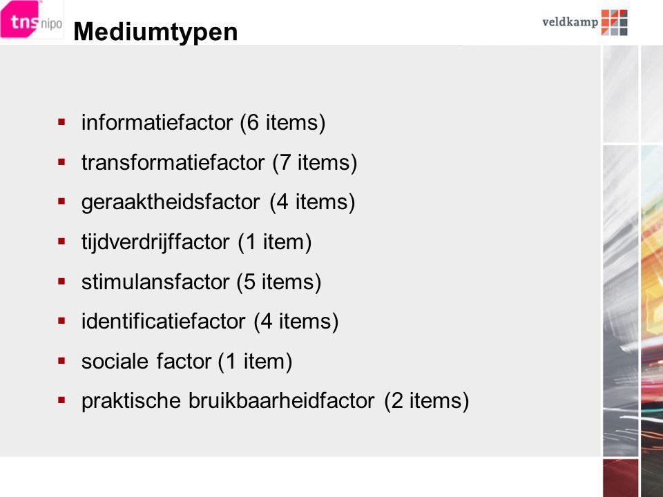 Mediumtypen  informatiefactor (6 items)  transformatiefactor (7 items)  geraaktheidsfactor (4 items)  tijdverdrijffactor (1 item)  stimulansfactor (5 items)  identificatiefactor (4 items)  sociale factor (1 item)  praktische bruikbaarheidfactor (2 items)