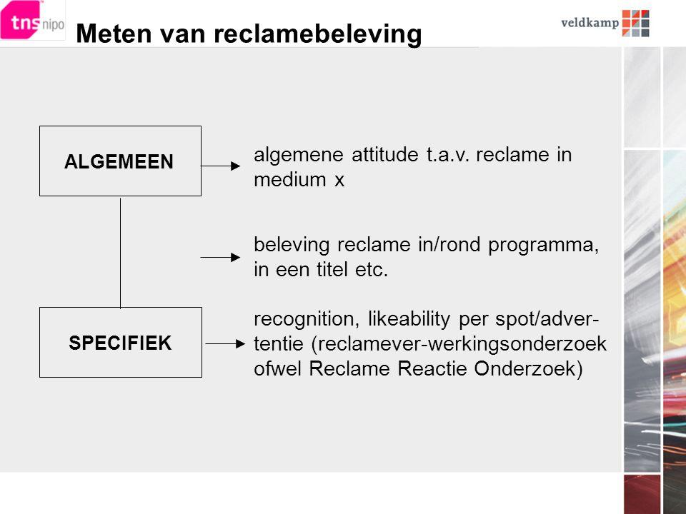 Meten van reclamebeleving ALGEMEEN SPECIFIEK algemene attitude t.a.v.