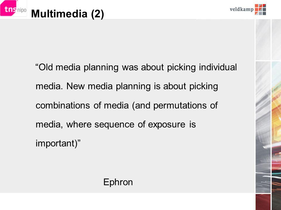 Vervolg  multimedia strategieën zullen toenemen en single-source mediavergelijking eisen dus: periodieke meting monitor à la TBO