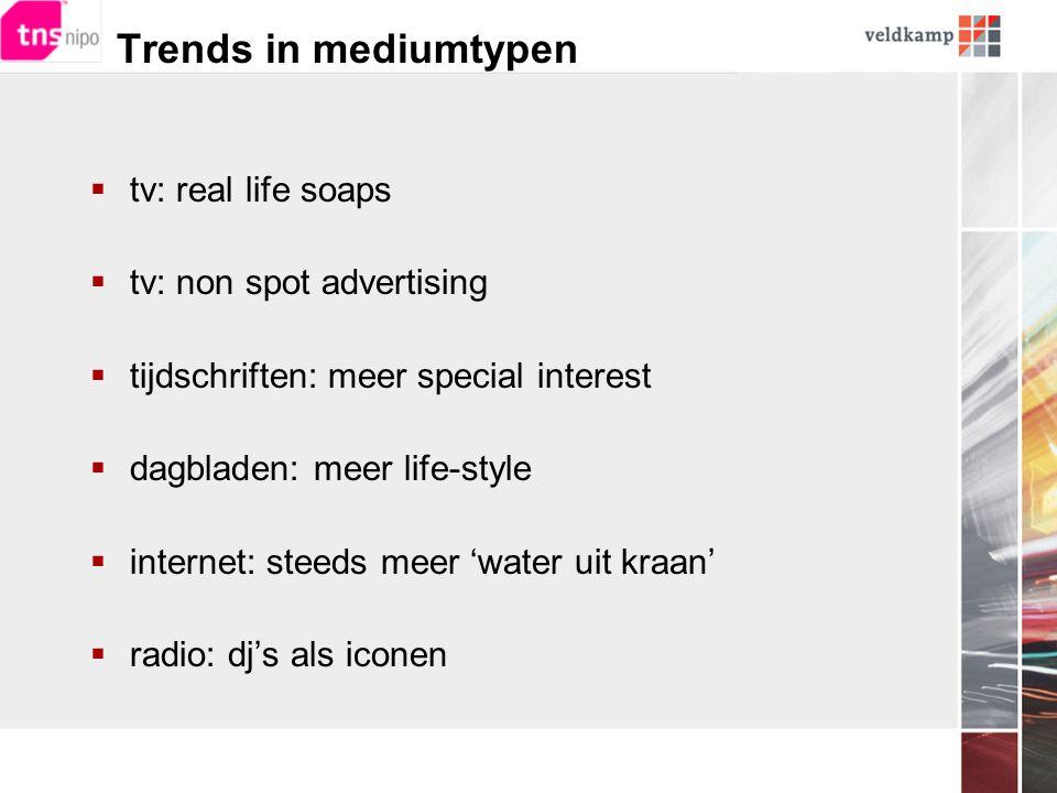 Trends in mediumtypen  tv: real life soaps  tv: non spot advertising  tijdschriften: meer special interest  dagbladen: meer life-style  internet: steeds meer 'water uit kraan'  radio: dj's als iconen
