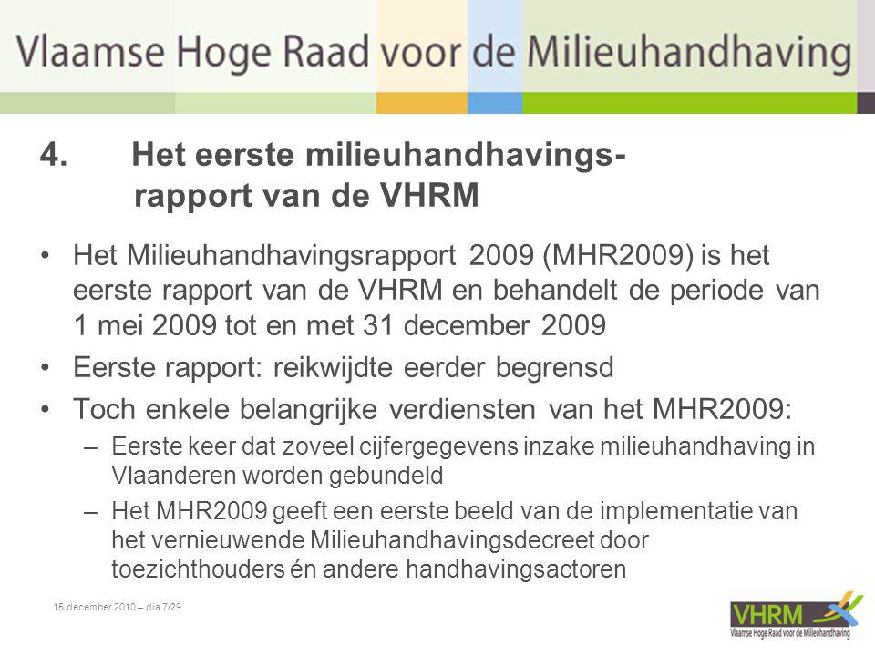 15 december 2010 – dia 8/29 5.MHR2009: inhoud •Het MHR2009 bevat onder meer: –een gedetailleerde evaluatie van het Vlaamse milieuhandhavingsbeleid; –een evaluatie van de inzet van de milieuhandhavings- instrumenten; –een evaluatie van het Vlaamse sanctioneringsbeleid in 2009.