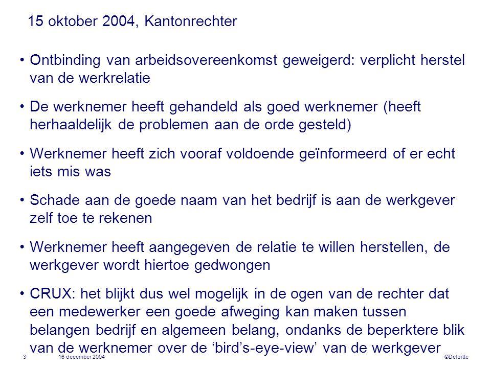 ©Deloitte 16 december 20043 15 oktober 2004, Kantonrechter •Ontbinding van arbeidsovereenkomst geweigerd: verplicht herstel van de werkrelatie •De wer