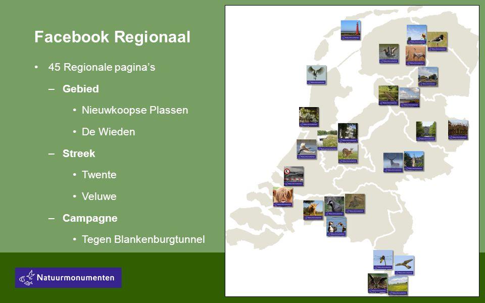 Facebook Regionaal •45 Regionale pagina's –Gebied •Nieuwkoopse Plassen •De Wieden –Streek •Twente •Veluwe –Campagne •Tegen Blankenburgtunnel
