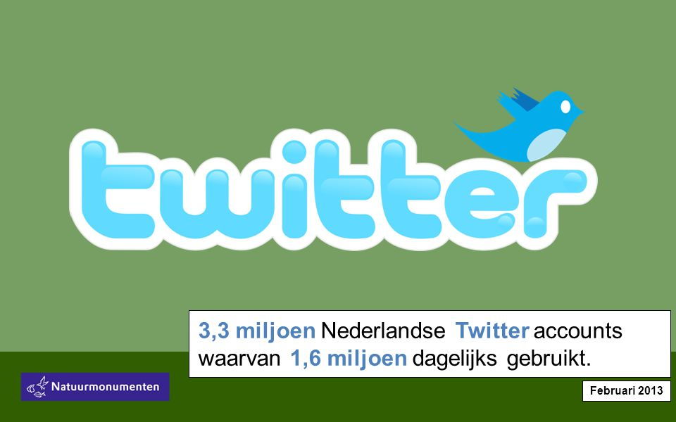 3,3 miljoen Nederlandse Twitter accounts waarvan 1,6 miljoen dagelijks gebruikt. Februari 2013