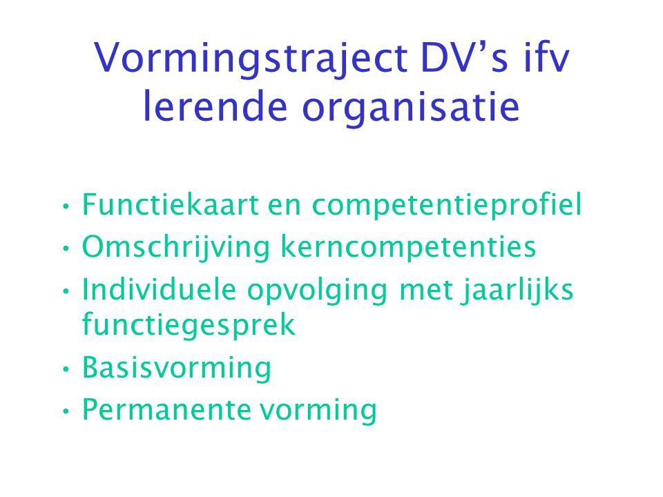 Vormingstraject DV's ifv lerende organisatie •Functiekaart en competentieprofiel •Omschrijving kerncompetenties •Individuele opvolging met jaarlijks f