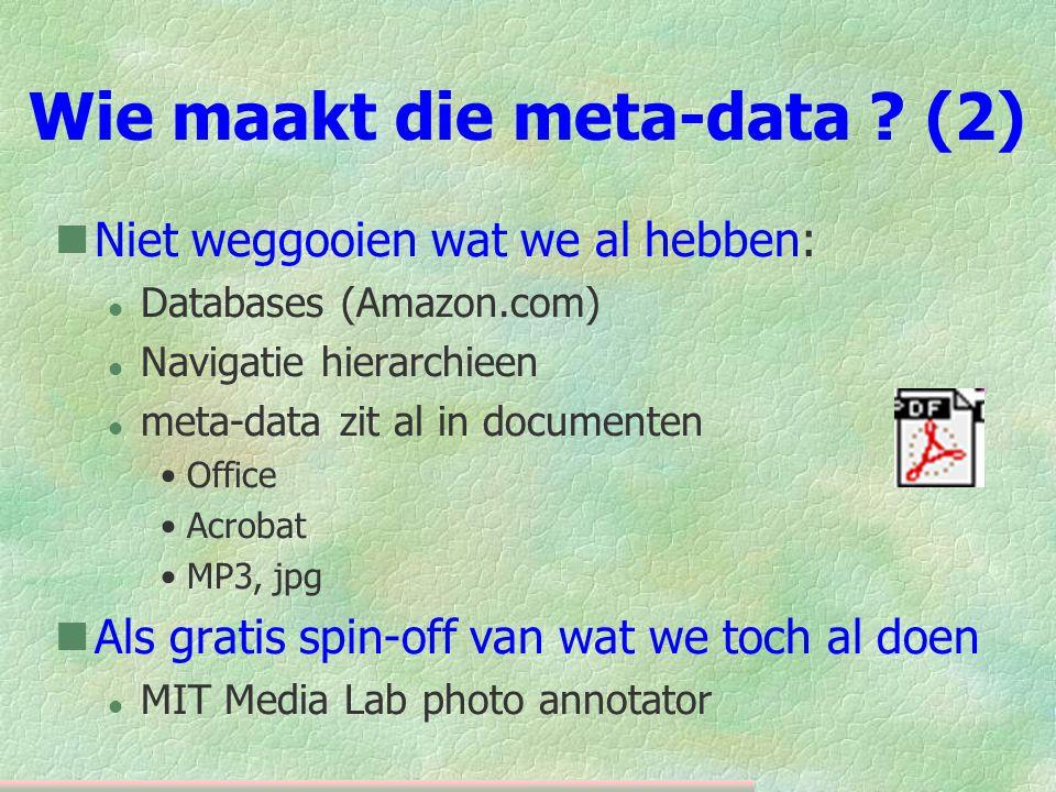 Wie maakt die meta-data .