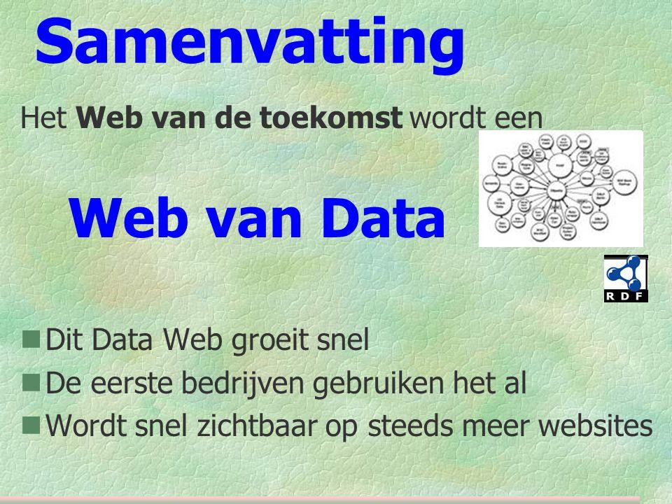Samenvatting Het Web van de toekomst wordt een Web van Data  Dit Data Web groeit snel  De eerste bedrijven gebruiken het al  Wordt snel zichtbaar op steeds meer websites