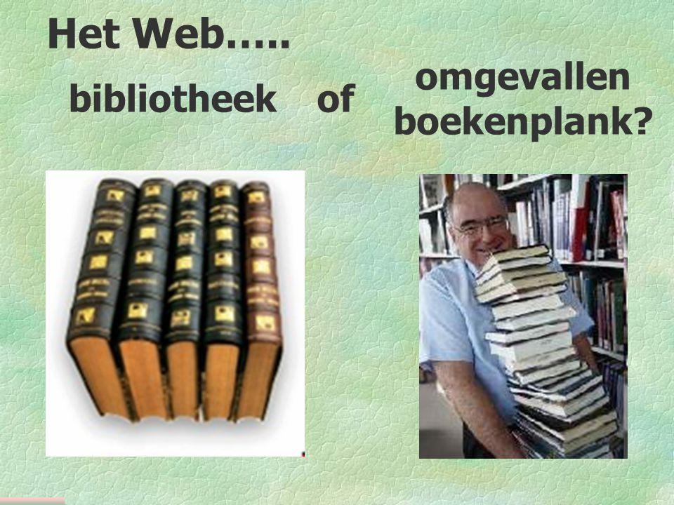 bibliotheekof omgevallen boekenplank Het Web…..