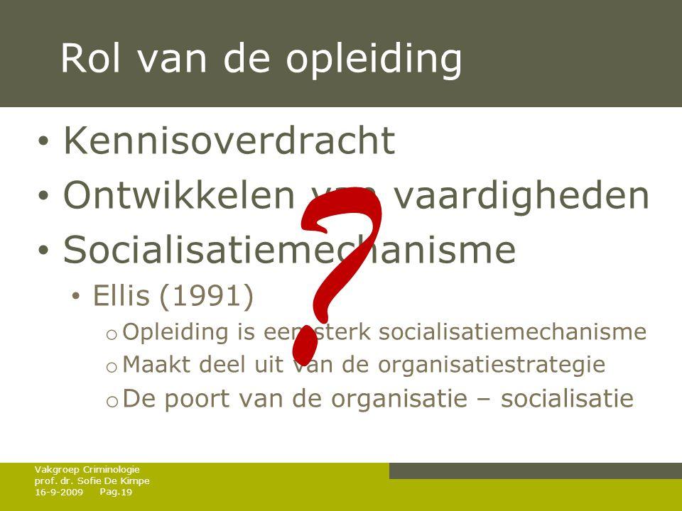 Pag. Rol van de opleiding • Kennisoverdracht • Ontwikkelen van vaardigheden • Socialisatiemechanisme • Ellis (1991) o Opleiding is een sterk socialisa