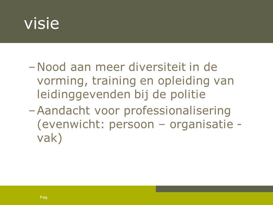 Pag. visie –Nood aan meer diversiteit in de vorming, training en opleiding van leidinggevenden bij de politie –Aandacht voor professionalisering (even