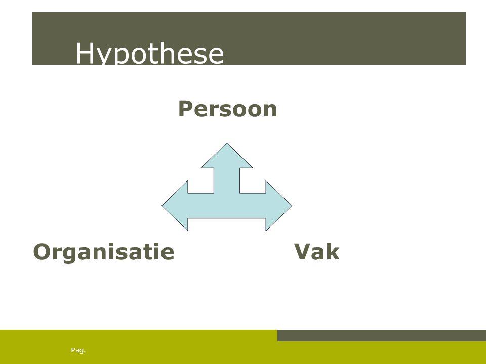 Pag. Hypothese Persoon Organisatie Vak