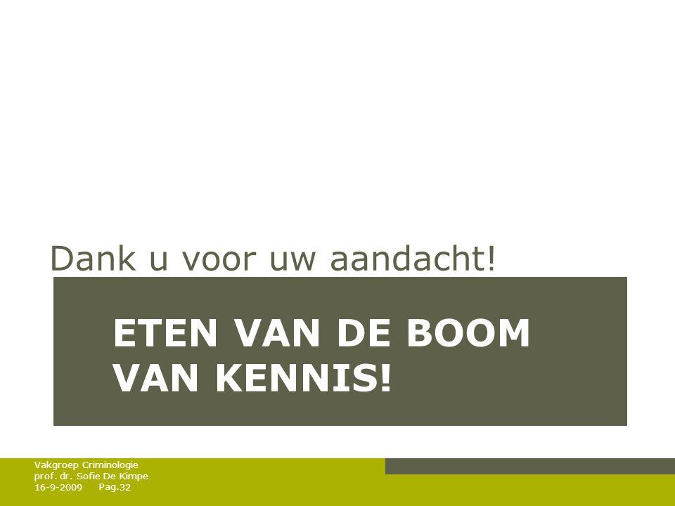 Pag. ETEN VAN DE BOOM VAN KENNIS! Dank u voor uw aandacht! 16-9-200932 Vakgroep Criminologie prof. dr. Sofie De Kimpe