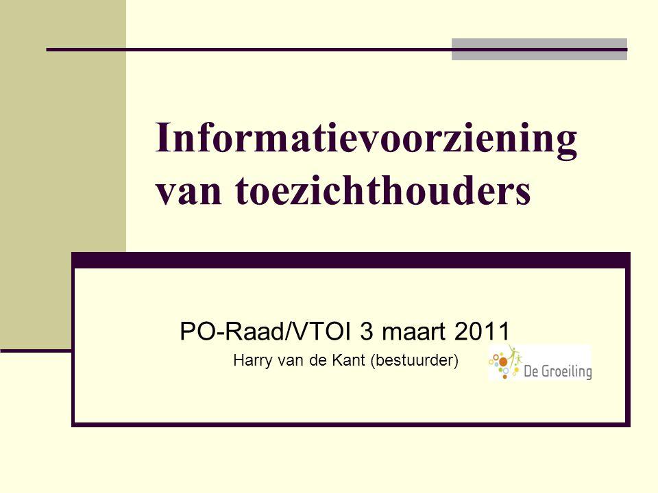 Informatievoorziening van toezichthouders PO-Raad/VTOI 3 maart 2011 Harry van de Kant (bestuurder)