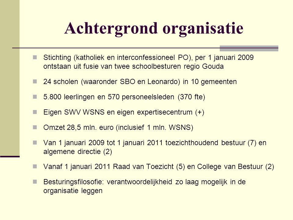Achtergrond organisatie  Stichting (katholiek en interconfessioneel PO), per 1 januari 2009 ontstaan uit fusie van twee schoolbesturen regio Gouda 