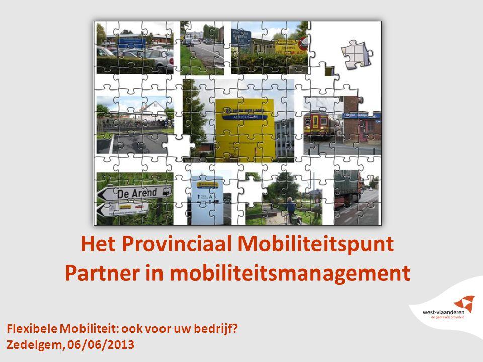 1 Flexibele Mobiliteit: ook voor uw bedrijf? Zedelgem, 06/06/2013 Het Provinciaal Mobiliteitspunt Partner in mobiliteitsmanagement