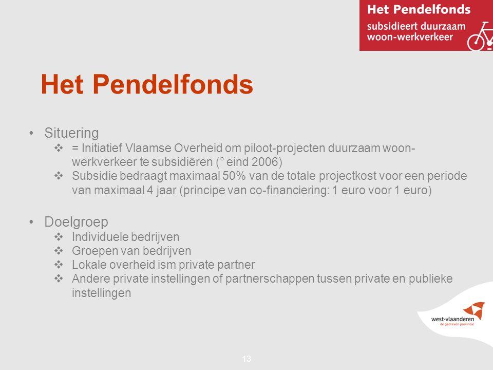 13 Het Pendelfonds •Situering  = Initiatief Vlaamse Overheid om piloot-projecten duurzaam woon- werkverkeer te subsidiëren (° eind 2006)  Subsidie b