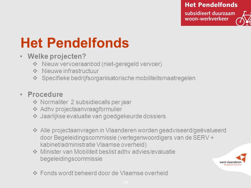 14 Het Pendelfonds •Welke projecten?  Nieuw vervoeraanbod (niet-geregeld vervoer)  Nieuwe infrastructuur  Specifieke bedrijfsorganisatorische mobil