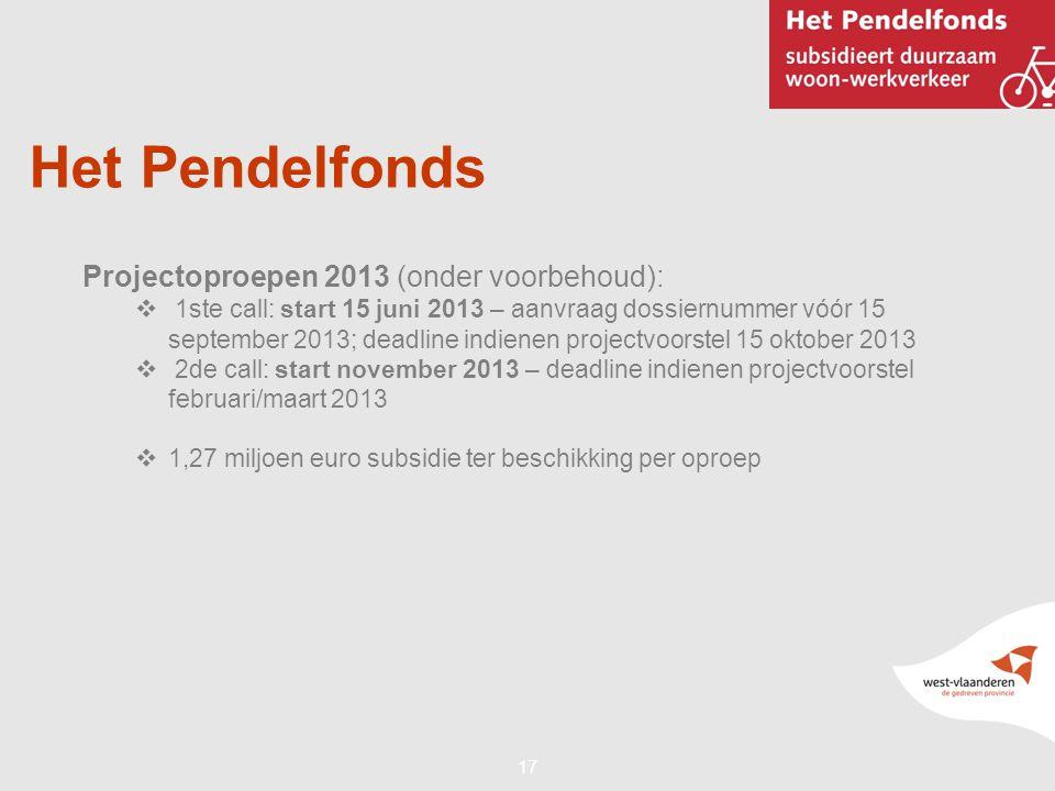 17 Het Pendelfonds Projectoproepen 2013 (onder voorbehoud):  1ste call: start 15 juni 2013 – aanvraag dossiernummer vóór 15 september 2013; deadline indienen projectvoorstel 15 oktober 2013  2de call: start november 2013 – deadline indienen projectvoorstel februari/maart 2013  1,27 miljoen euro subsidie ter beschikking per oproep