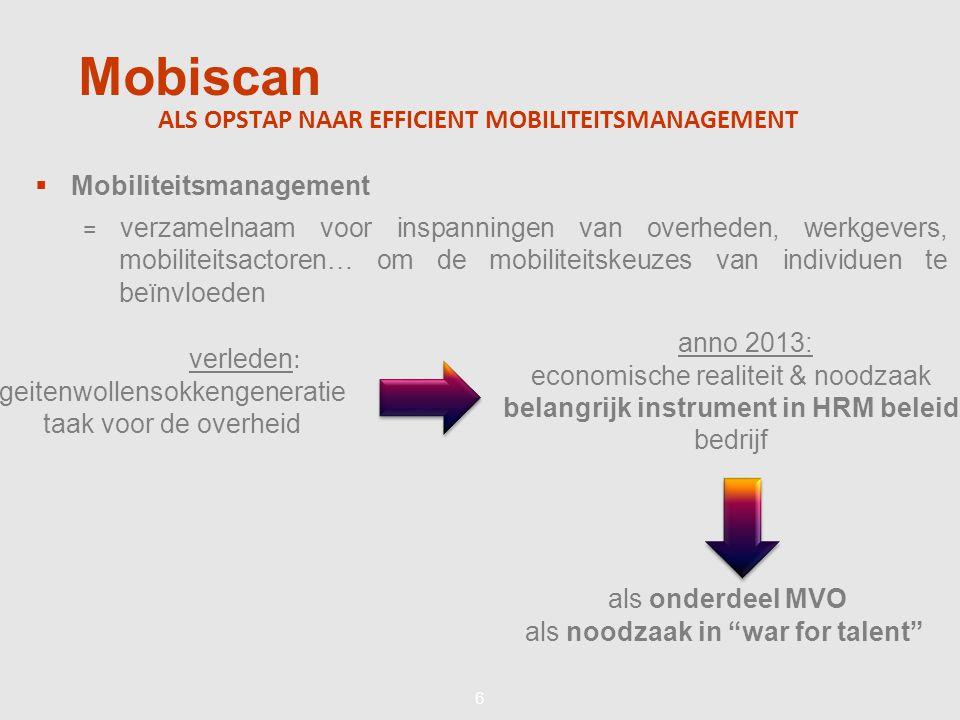 66 Mobiscan ALS OPSTAP NAAR EFFICIENT MOBILITEITSMANAGEMENT  Mobiliteitsmanagement = verzamelnaam voor inspanningen van overheden, werkgevers, mobiliteitsactoren… om de mobiliteitskeuzes van individuen te beïnvloeden verleden : geitenwollensokkengeneratie taak voor de overheid anno 2013: economische realiteit & noodzaak belangrijk instrument in HRM beleid bedrijf als onderdeel MVO als noodzaak in war for talent