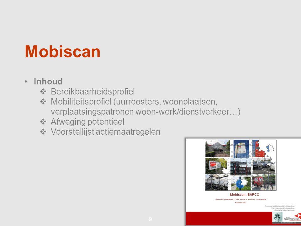 99 Mobiscan •Inhoud  Bereikbaarheidsprofiel  Mobiliteitsprofiel (uurroosters, woonplaatsen, verplaatsingspatronen woon-werk/dienstverkeer…)  Afweging potentieel  Voorstellijst actiemaatregelen
