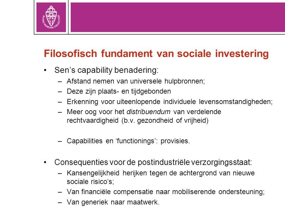 Filosofisch fundament van sociale investering •Sen's capability benadering: –Afstand nemen van universele hulpbronnen; –Deze zijn plaats- en tijdgebon