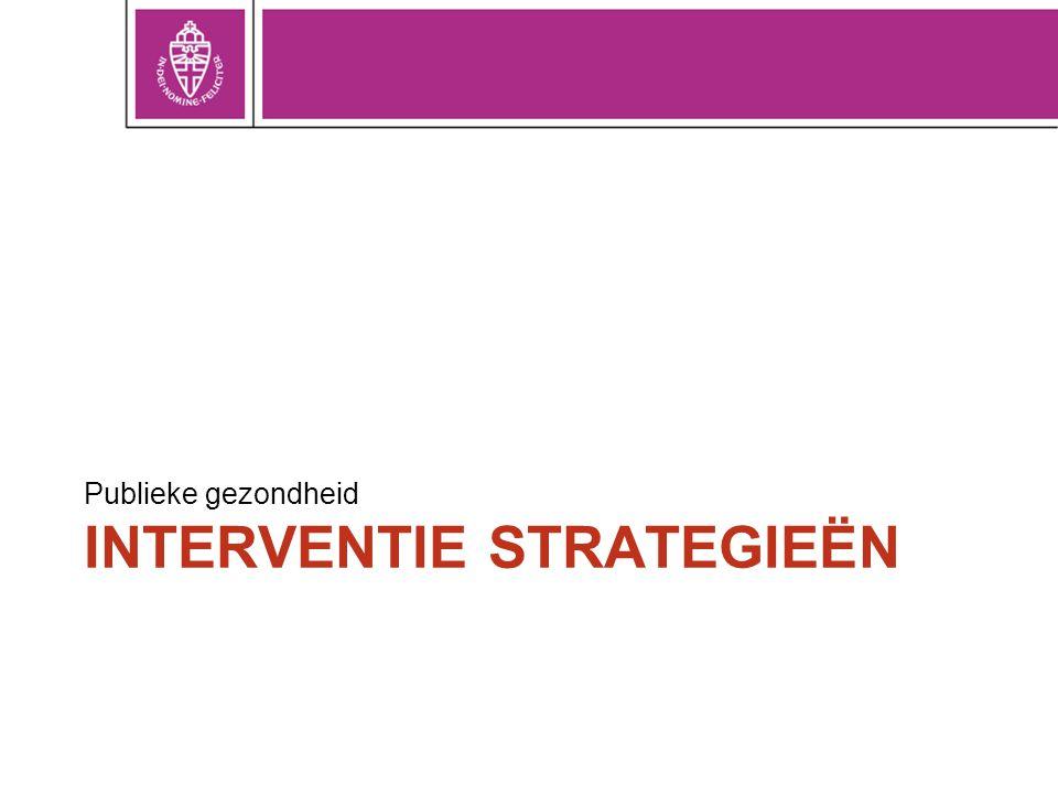 INTERVENTIE STRATEGIEËN Publieke gezondheid