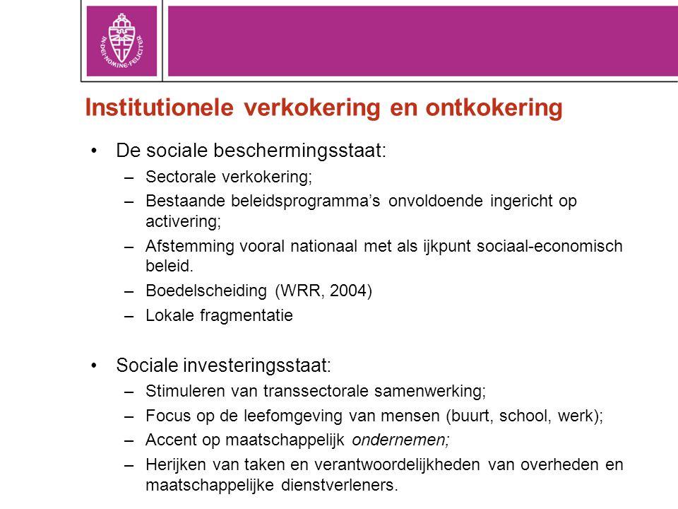 Institutionele verkokering en ontkokering •De sociale beschermingsstaat: –Sectorale verkokering; –Bestaande beleidsprogramma's onvoldoende ingericht o
