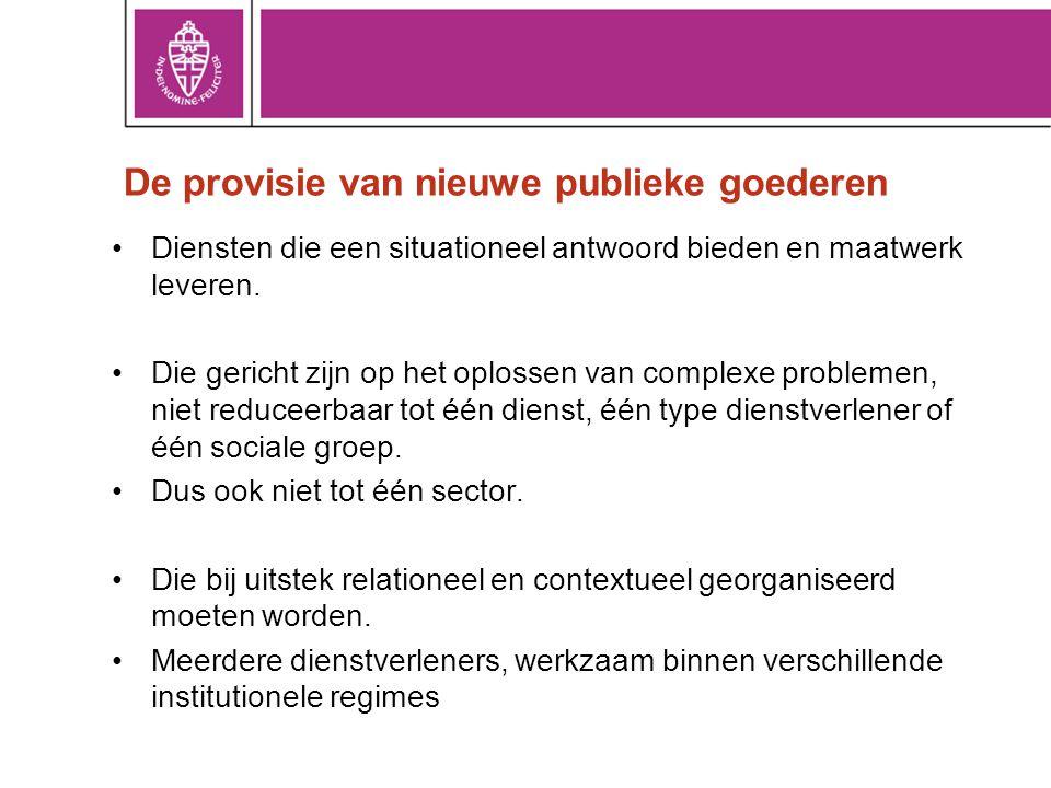 De provisie van nieuwe publieke goederen •Diensten die een situationeel antwoord bieden en maatwerk leveren. •Die gericht zijn op het oplossen van com