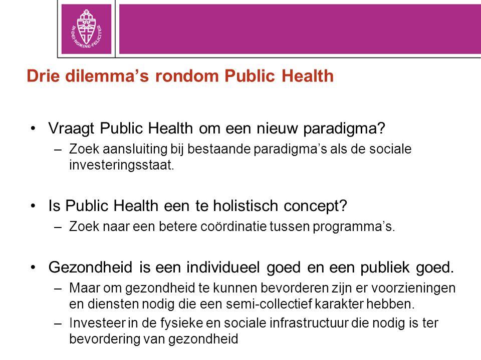 Drie dilemma's rondom Public Health •Vraagt Public Health om een nieuw paradigma? –Zoek aansluiting bij bestaande paradigma's als de sociale investeri