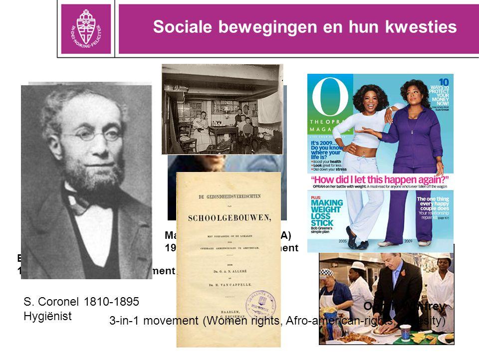 Sociale bewegingen en hun kwesties Ellen Swallow (USA) 1890: women's right movement Martin Luther King (USA) 1955: civil right movement Jamie Oliver (