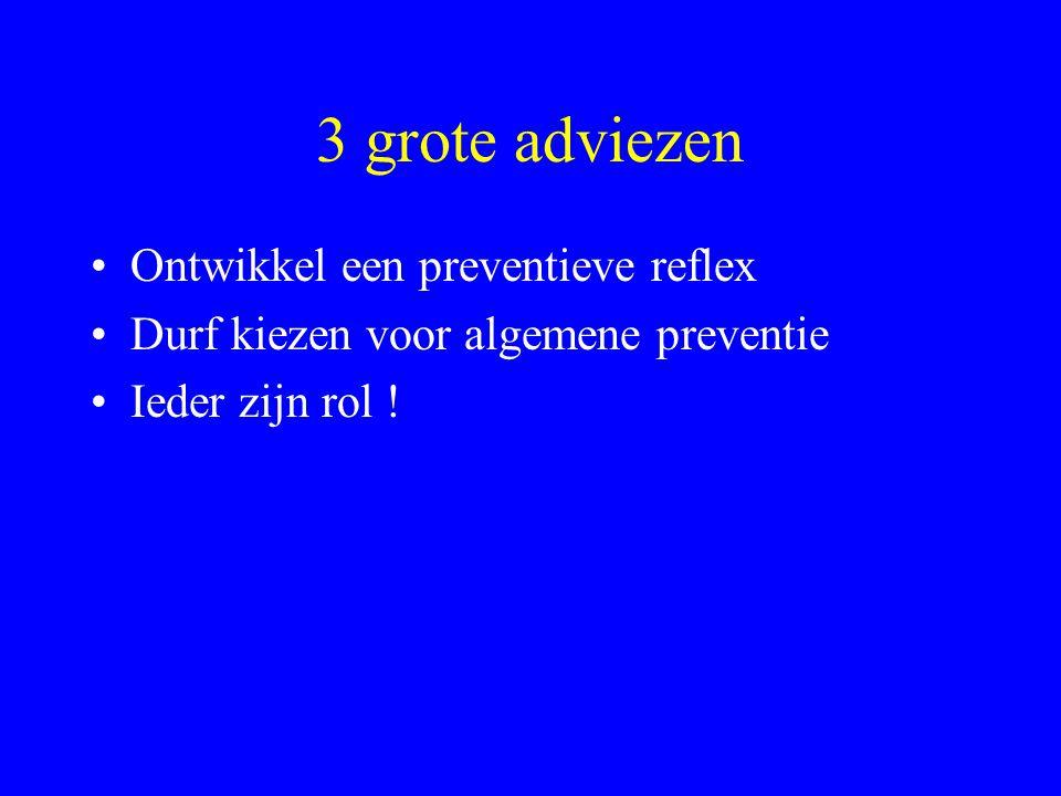 3 grote adviezen •Ontwikkel een preventieve reflex •Durf kiezen voor algemene preventie •Ieder zijn rol !