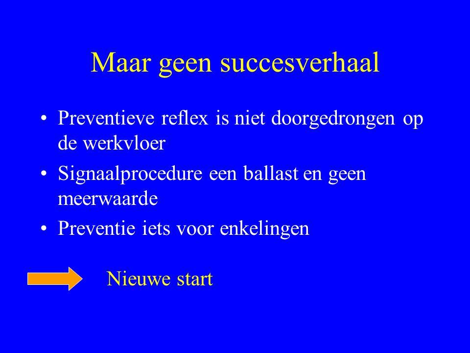 Maar geen succesverhaal •Preventieve reflex is niet doorgedrongen op de werkvloer •Signaalprocedure een ballast en geen meerwaarde •Preventie iets voor enkelingen Nieuwe start