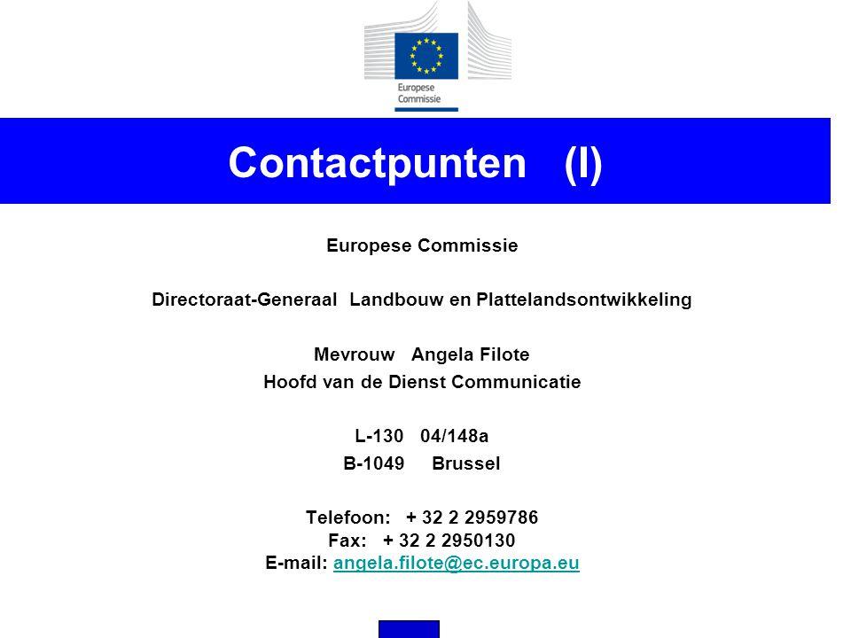 Contactpunten (I) Europese Commissie Directoraat-Generaal Landbouw en Plattelandsontwikkeling Mevrouw Angela Filote Hoofd van de Dienst Communicatie L