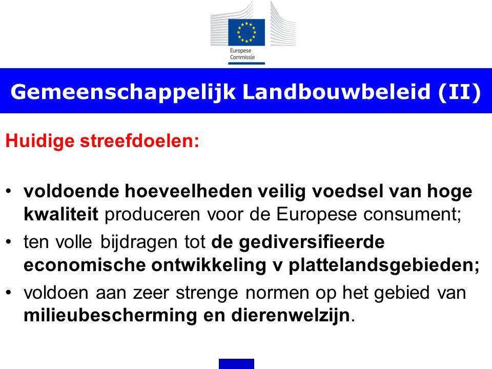 Gemeenschappelijk Landbouwbeleid (II) Huidige streefdoelen: •voldoende hoeveelheden veilig voedsel van hoge kwaliteit produceren voor de Europese cons