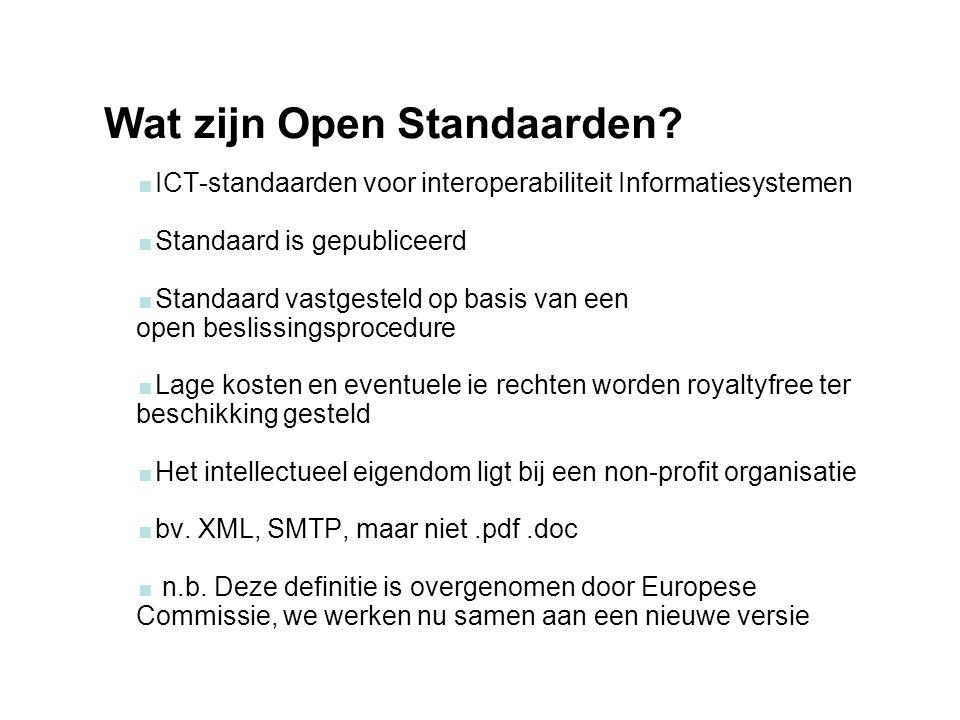 woensdag 29 september 2004 Wat zijn Open Standaarden?  ICT-standaarden voor interoperabiliteit Informatiesystemen  Standaard is gepubliceerd  Stand