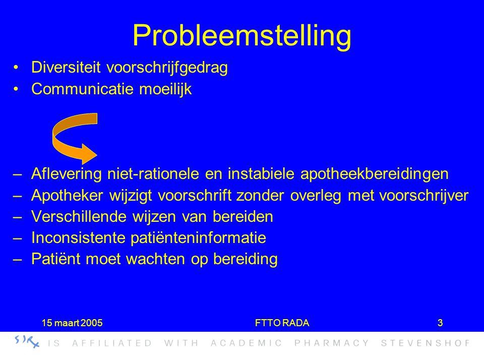 15 maart 2005FTTO RADA3 Probleemstelling •Diversiteit voorschrijfgedrag •Communicatie moeilijk –Aflevering niet-rationele en instabiele apotheekbereid