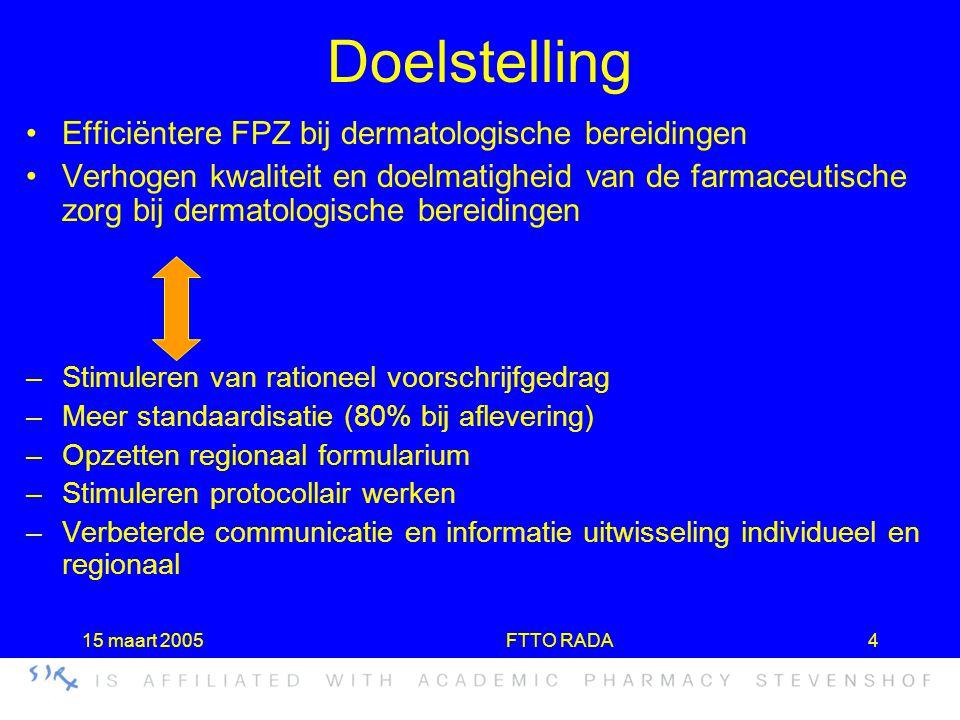 15 maart 2005FTTO RADA4 Doelstelling •Efficiëntere FPZ bij dermatologische bereidingen •Verhogen kwaliteit en doelmatigheid van de farmaceutische zorg