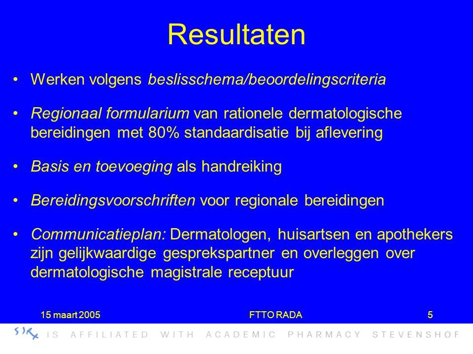 15 maart 2005FTTO RADA5 Resultaten •Werken volgens beslisschema/beoordelingscriteria •Regionaal formularium van rationele dermatologische bereidingen