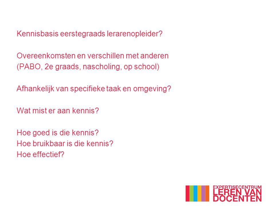 Kennisbasis eerstegraads lerarenopleider? Overeenkomsten en verschillen met anderen (PABO, 2e graads, nascholing, op school) Afhankelijk van specifiek