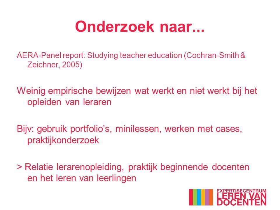 Onderzoek naar... AERA-Panel report: Studying teacher education (Cochran-Smith & Zeichner, 2005) Weinig empirische bewijzen wat werkt en niet werkt bi