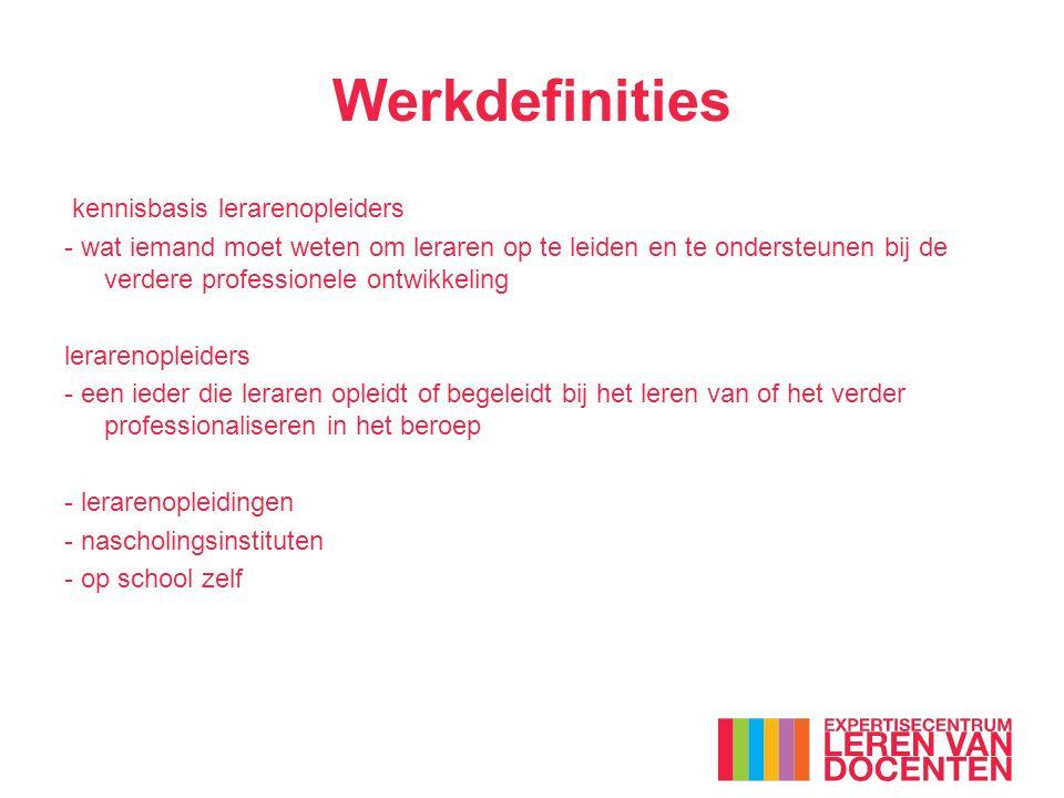 Werkdefinities kennisbasis lerarenopleiders - wat iemand moet weten om leraren op te leiden en te ondersteunen bij de verdere professionele ontwikkeli