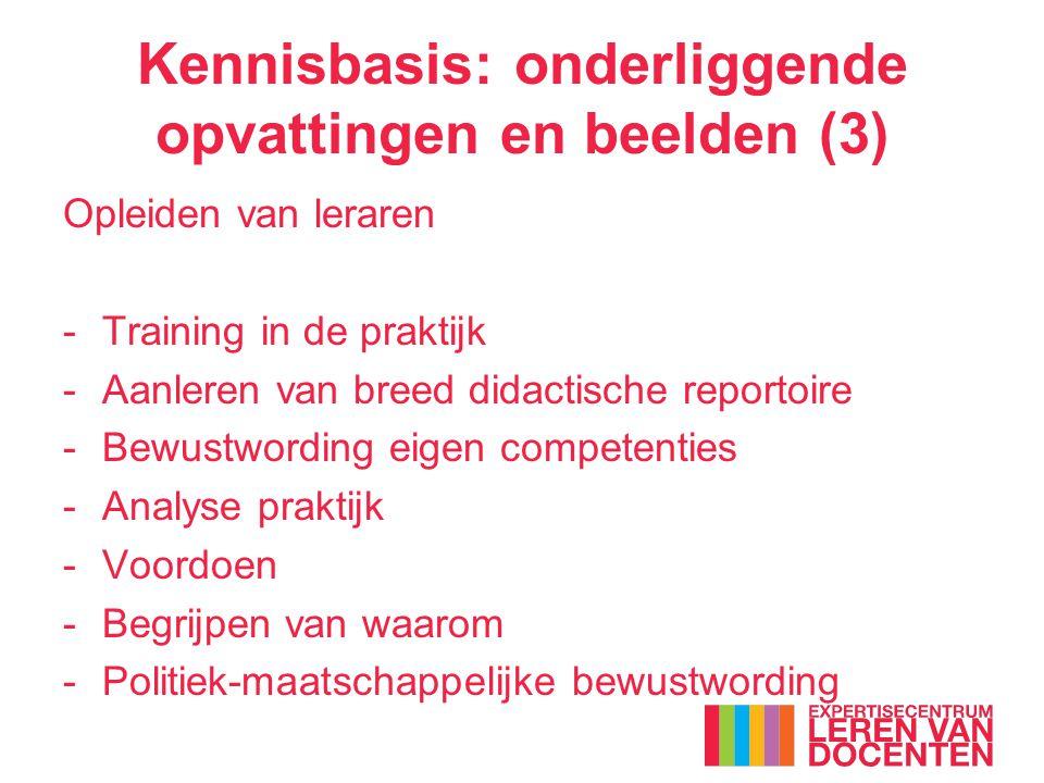Kennisbasis: onderliggende opvattingen en beelden (3) Opleiden van leraren -Training in de praktijk -Aanleren van breed didactische reportoire -Bewustwording eigen competenties -Analyse praktijk -Voordoen -Begrijpen van waarom -Politiek-maatschappelijke bewustwording