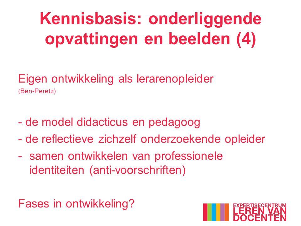 Kennisbasis: onderliggende opvattingen en beelden (4) Eigen ontwikkeling als lerarenopleider (Ben-Peretz) - de model didacticus en pedagoog - de reflectieve zichzelf onderzoekende opleider -samen ontwikkelen van professionele identiteiten (anti-voorschriften) Fases in ontwikkeling?